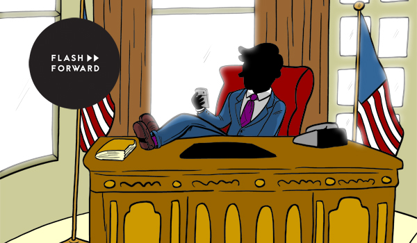 Faceless person sitting at oval office desk